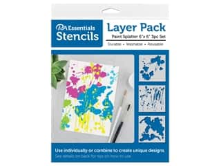 craft & hobbies: PA Essentials Stencil 6 in. x 6 in. Layer Pack Paint Splatter 3 pc