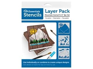 craft & hobbies: PA Essentials Stencil 6 in. x 6 in. Layer Pack Mountain Scene 3pc