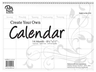 Paper Accents Calendar Create Your Own 8 1/2 x 11 in. 14 Month Landscape Blank White