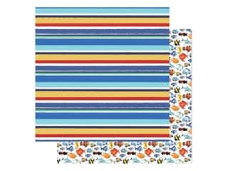 "scrapbooking & paper crafts: Carta Bella Fish Are Friends Paper 12""x 12"" Sea Stripes (25 pieces)"