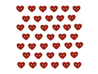 Jesse James Embellishments Micro Mini Hearts Red (6 pieces)