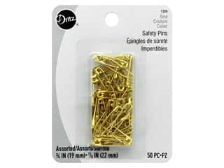 Dritz Safety Pins 3/4 in and 7/8 in. Brass 50 pc.