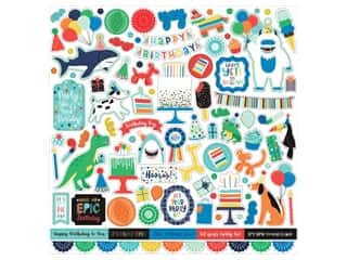 scrapbooking & paper crafts: Echo Park Its Your Birthday Boy Collection Sticker 12 in. x 12 in. Elements (15 pieces)