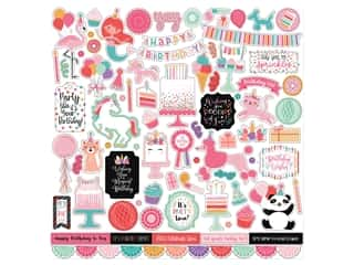 scrapbooking & paper crafts: Echo Park Its Your Birthday Girl Collection Sticker 12 in. x 12 in. Elements (15 pieces)
