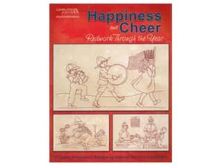 Leisure Arts Happiness & Cheer Redwork Through The Year Embroidery Book