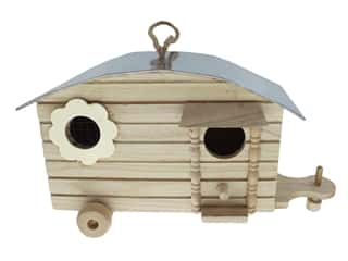 Sierra Pacific Crafts Wood Birdhouse Trailer with Metal Roof & Flower Window