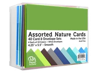 Paper Accents Blank Card & Envelopes - 4 1/4 x 5 1/2 in. - Nature Assorted 40 pc.