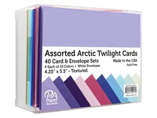 Paper Accents Card & Envelopes 4.25 in. x 5.5 in. Textured Arctic Twilight Assorted 40pc