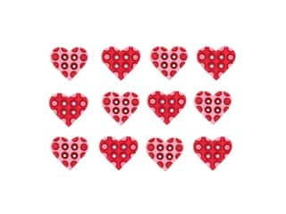 craft & hobbies: Jesse James Embellishments - Polka Dots Hearts Pink