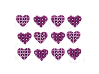 craft & hobbies: Jesse James Embellishments - Polka Dots Hearts Lilac