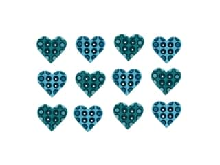 craft & hobbies: Jesse James Embellishments - Polka Dot Hearts Turquoise