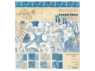 scrapbooking & paper crafts: Graphic 45 Collection Ocean Blue Paper Pad 8 in. x 8 in.