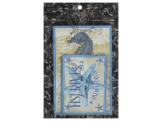 teal card stock: Graphic 45 Collection Ocean Blue Ephemera & Journal Cards