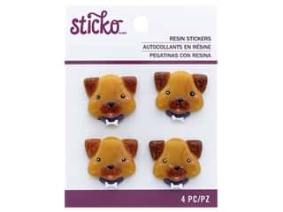 EK Sticko Stickers Resin Dog Face