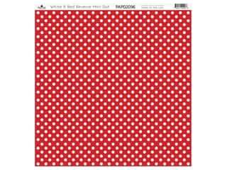 "Paper Cafe Cardstock 12""x 12"" White & Red Reverse Mini Dot 15pc"