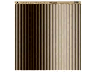 "Paper Cafe Cardstock 12""x 12"" Kraft & Black Mini Stripe 15pc"