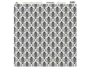 "Paper Cafe Cardstock 12""x 12"" Cream & Black Damask 15pc"