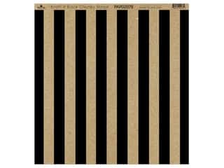 "Paper Cafe Cardstock 12""x 12"" Kraft & Black Chunky Stripe 15pc"