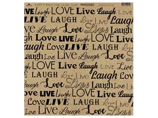 "Paper Cafe Cardstock 12""x 12"" Kraft & Black Live Laugh Love 15pc"