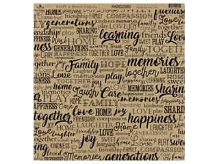 "Paper Cafe Cardstock 12""x 12"" Kraft & Black Family 15pc"