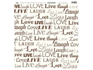 "Paper Cafe Cardstock 12""x 12"" Cream & Chocolate Live Laugh Love 15pc"