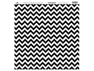 scrapbooking & paper crafts: Paper Cafe Cardstock 12 in. x 12 in. White Black Chevron 15 pc