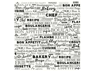 "Paper Cafe Cardstock 12""x 12"" Cream & Black Bon Appetit 15pc"