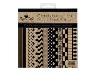 "Paper Cafe Cardstock Pad 6""x 6"" Kraft & Black Prints"