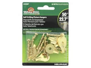 craft & hobbies: Hillman Wall Dog Self Drilling Picture Hanger 50lb Brass 10pc
