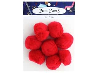 craft & hobbies: PA Essentials Pom Poms 2 in. Red 8 pc.