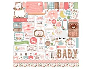 Echo Park Baby Girl Collection Sticker in. Elements (15 pieces)