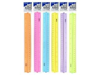 "Bazic Basics Ruler Plastic 12"" With Handle Grip Assorted"