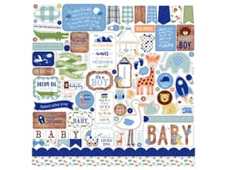 scrapbooking & paper crafts: Echo Park Collection Baby Boy Sticker 12 in. x 12 in. Elements (15 pieces)