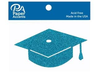 Paper Accents Glitter Shape Graduation Cap Ocean Blue 6pc (6 pieces)