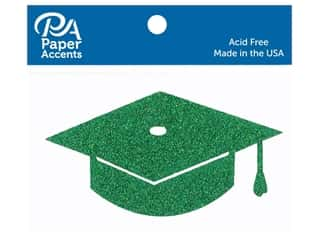 scrapbooking & paper crafts: Paper Accents Glitter Shape Graduation Cap Green 6pc (6 pieces)