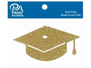 scrapbooking & paper crafts: Paper Accents Glitter Shape Graduation Cap Gold 6pc (6 pieces)