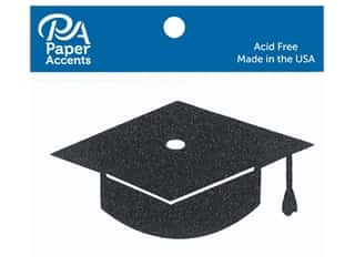 scrapbooking & paper crafts: Paper Accents Glitter Shape Graduation Cap Black 6pc (6 pieces)