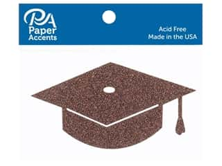 scrapbooking & paper crafts: Paper Accents Glitter Shape Graduation Cap Bronze Copper 6pc (6 pieces)