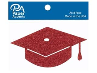 scrapbooking & paper crafts: Paper Accents Glitter Shape Graduation Cap Red 6pc (6 pieces)