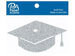 Paper Accents Glitter Shape Graduation Cap Silver 6pc (6 pieces)