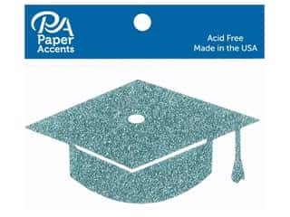 Paper Accents Glitter Shape Graduation Cap Sky Blue 6pc (6 pieces)