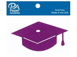 scrapbooking & paper crafts: Paper Accents Glitter Shape Graduation Cap Purple 6pc (6 pieces)