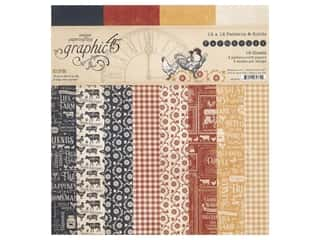 "Graphic 45 Farmhouse Paper Pad 12""x 12"" Patterns & Solids"