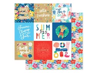 scrapbooking & paper crafts: Echo Park Collection Dive Into Summer Paper 12 in. x 12 in. Journaling Cards 4 in. x 4 in. (25 pieces)