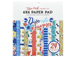 scrapbooking & paper crafts: Echo Park Collection Dive Into Summer Paper Pad 6 in. x 6 in.