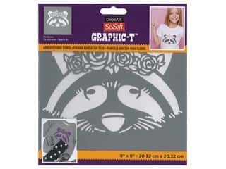 DecoArt Stencil SoSoft Fabric 8 in. x 8 in. Chic Raccoon