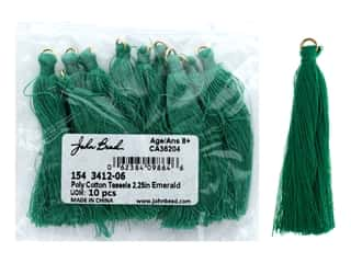 "John Bead Tassel 2.25"" Poly Cotton Emerald 10pc"