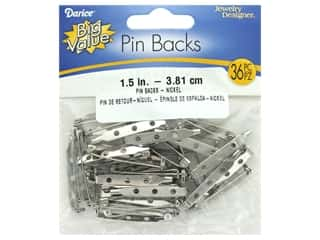 "craft & hobbies: Darice Pin Back 1.5"" Nickel Plated Steel 36pc"