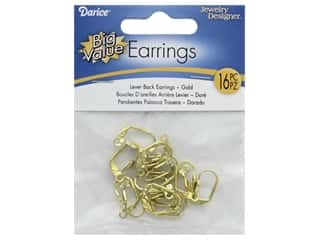 Darice Earring Lever Back Gold 16pc