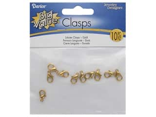 Darice Lobster Clasp 12mm Gold Plate Brass 10pc